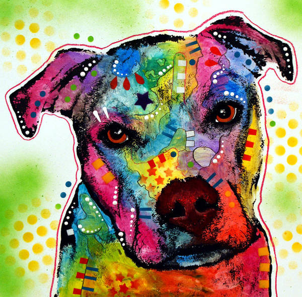 Pitbull Print featuring the painting Pity Pitbull by Dean Russo