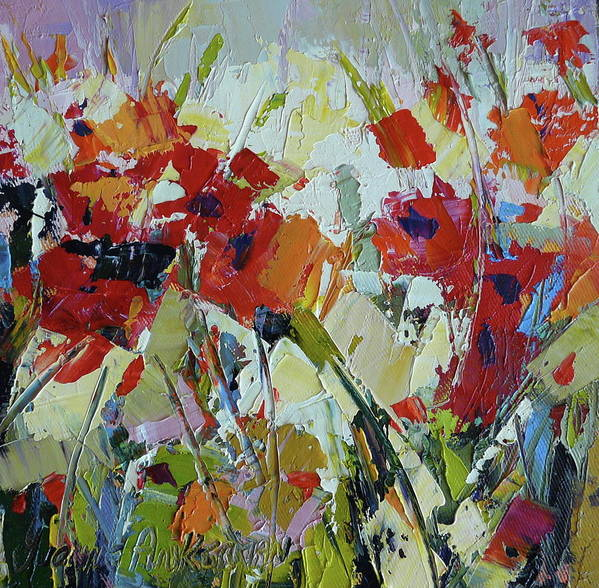 Poppies Art Print featuring the painting Poppies by Yvonne Ankerman