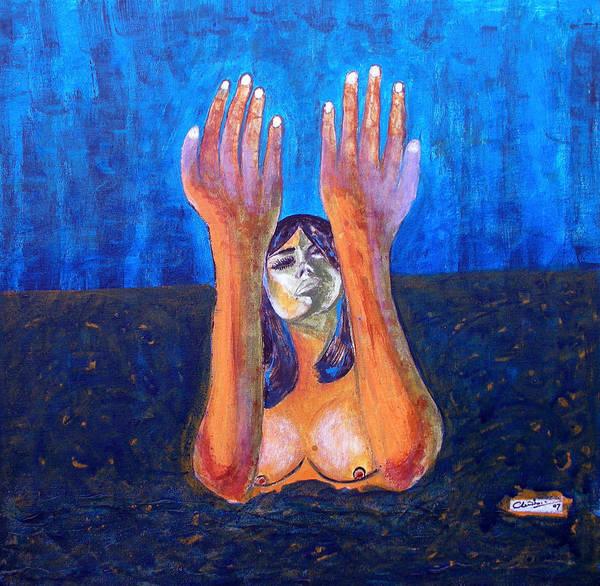Woman Art Print featuring the painting Prayer by Narayanan Ramachandran