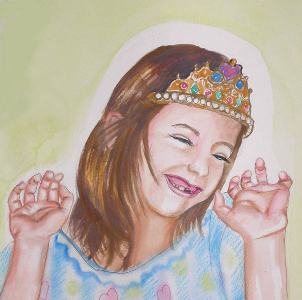 Princess Print featuring the painting Pretty Princess by Anne Cameron Cutri