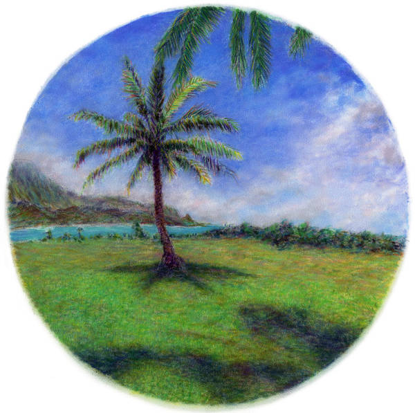 Rainbow Colors Pastel Art Print featuring the painting Princeville Palm by Kenneth Grzesik