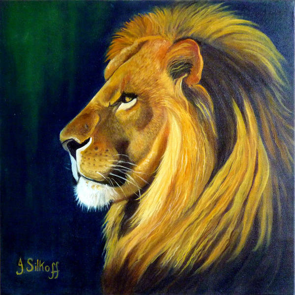 Lion Art Print featuring the painting Profile Of The King by Janet Silkoff