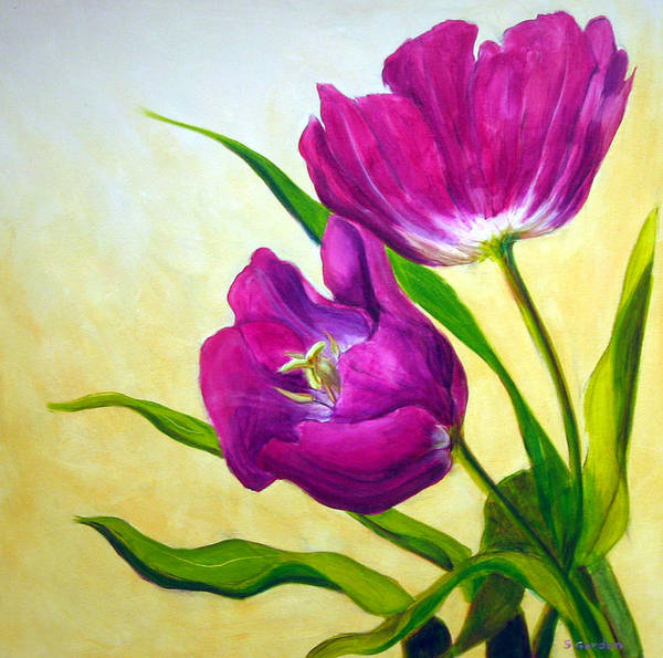 Tulip Art Print featuring the painting Purple Tulips by Scott Gordon