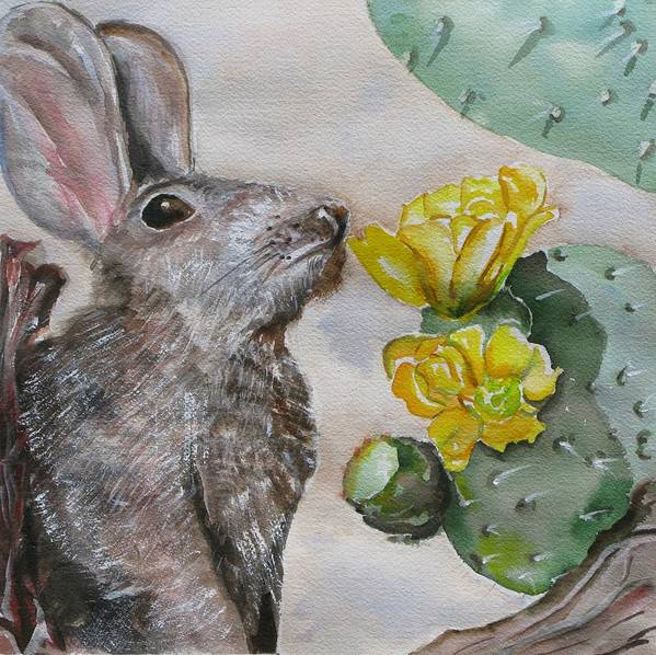Art Print featuring the painting Rabbit With Flower by Kathy Mitchell