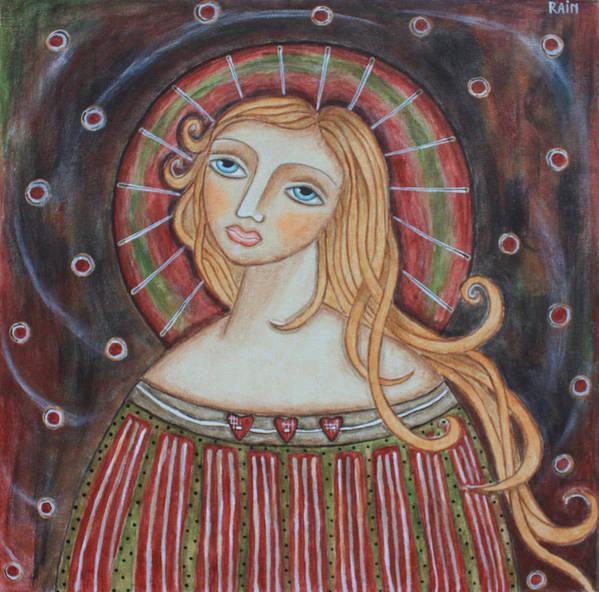 Folk Art Paintings Art Print featuring the painting Rainbow Angel by Rain Ririn