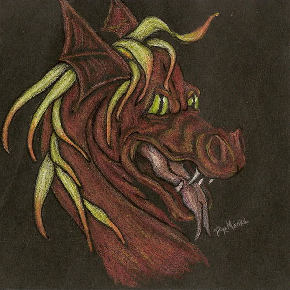 Dragon Art Print featuring the drawing Red Fire Dragon by Patricia R Moore