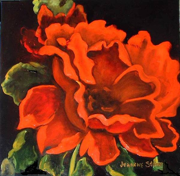 Red Flower Art Print featuring the painting Red Flower by Jeanene Stein