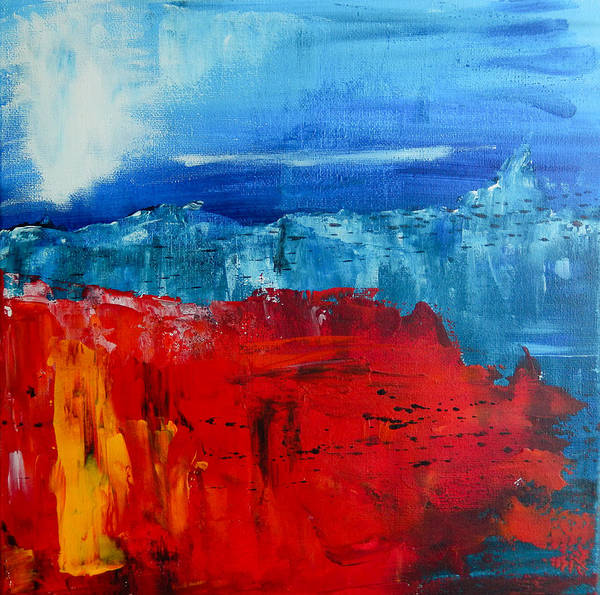 Abstract Landscape Art Print featuring the painting Red Flowers Blue Mountains - Abstract Landscape by Eliza Donovan