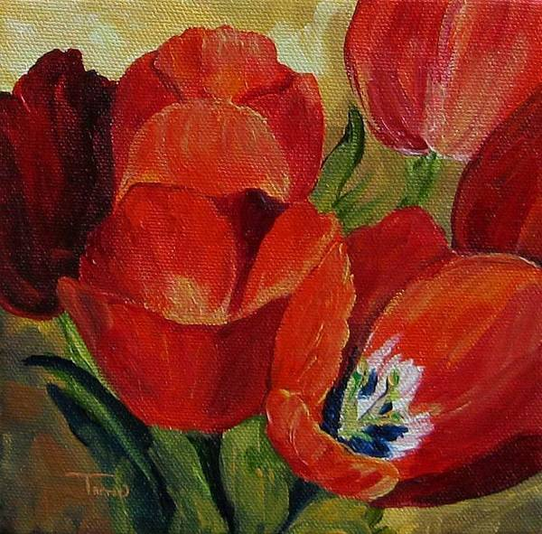 Tulip Art Print featuring the painting Red Tulips by Torrie Smiley