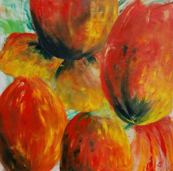 Art Print featuring the painting Red Tulips by Veronique Radelet