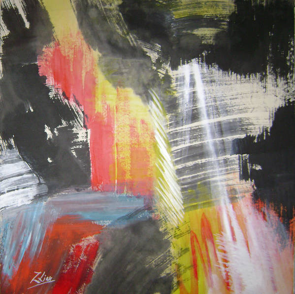 Abstract Art Print featuring the mixed media Red Waterfalls by Lian Zhen