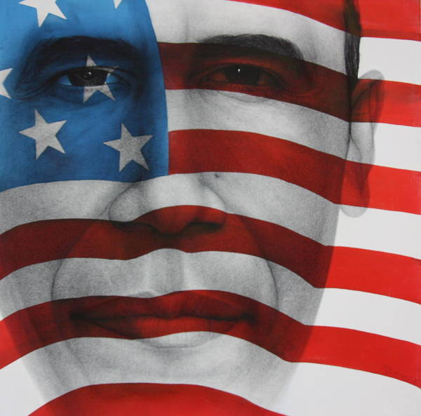 Obama Painting Art Print featuring the painting Red White And Blue by Gary Kaemmer