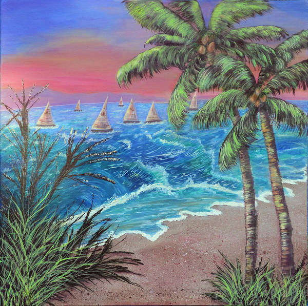 Sailboats Art Print featuring the painting Regatta Rapture by Mikki Alhart