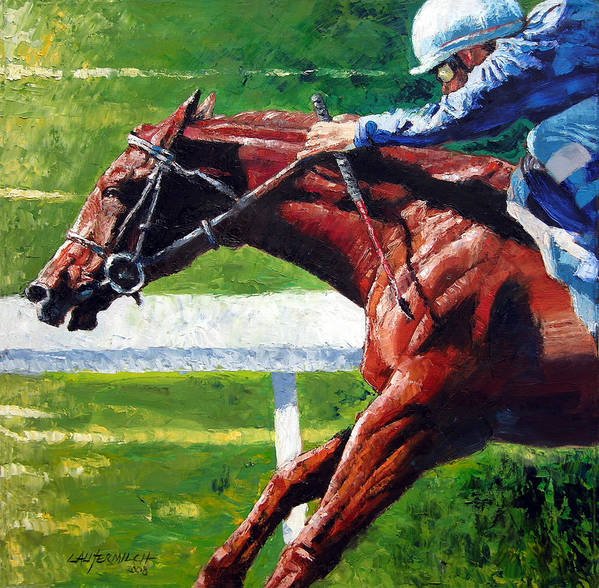Horse Race Art Print featuring the painting Running Towards The Light by John Lautermilch