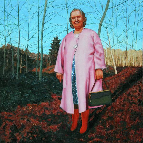 Figure Art Print featuring the painting Sadie In Pink by Allan OMarra