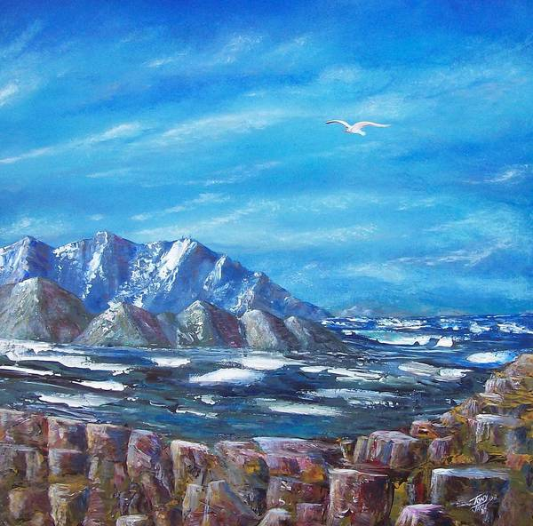Seascape Art Print featuring the painting Seagull Seascape V by Tony Rodriguez