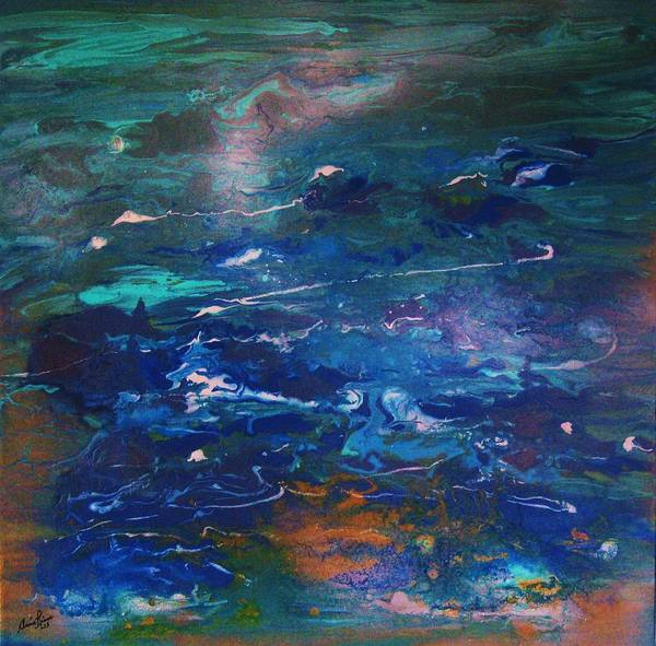 Contemporary Sea Art Print featuring the painting Secrets Des Caraibes by Annie Rioux
