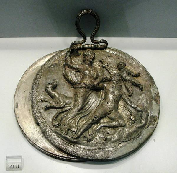 Ancient Silver Mirror Art Print featuring the photograph Selene With Endymion by Andonis Katanos