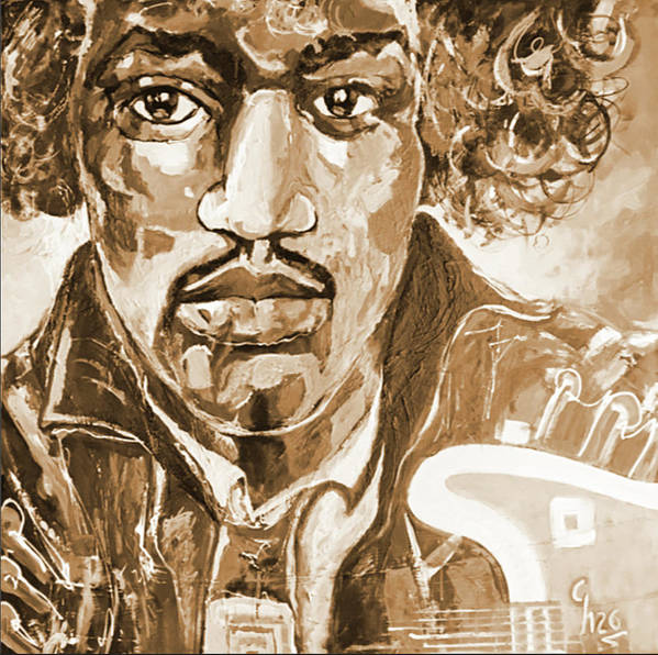 Jimi Hendrix Art Print featuring the painting Sepia Jimi by Gilles Chagnon
