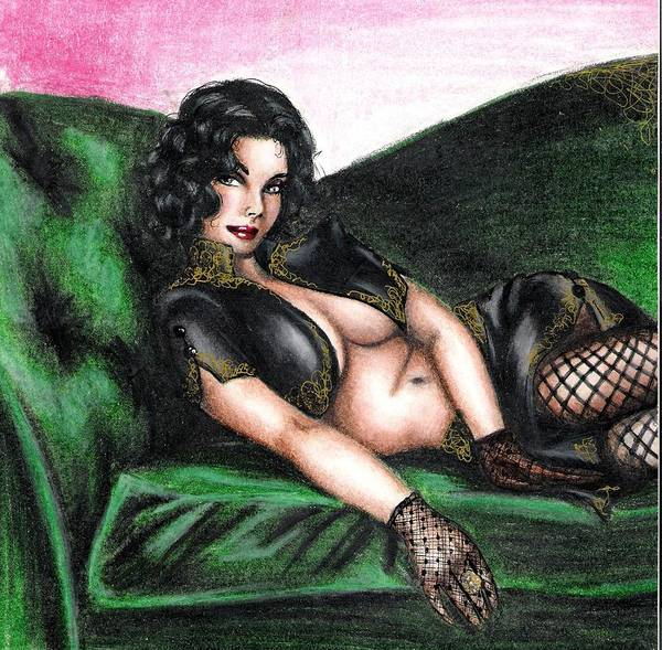 Figure Art Print featuring the drawing Sexy Flirt by Scarlett Royal