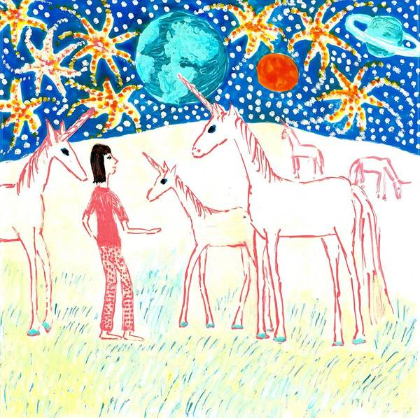 Sue Burgess Print featuring the painting She Meets The Moon Unicorns by Sushila Burgess