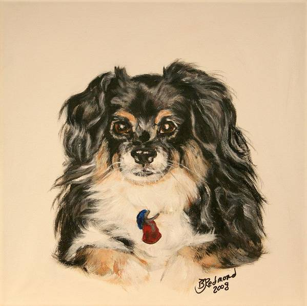 Dog Art Print featuring the painting Smokey The Peekapom by BJ Redmond