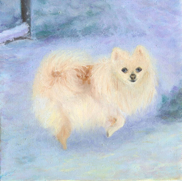 Dog Art Print featuring the painting Snow Angel by Paula Emery