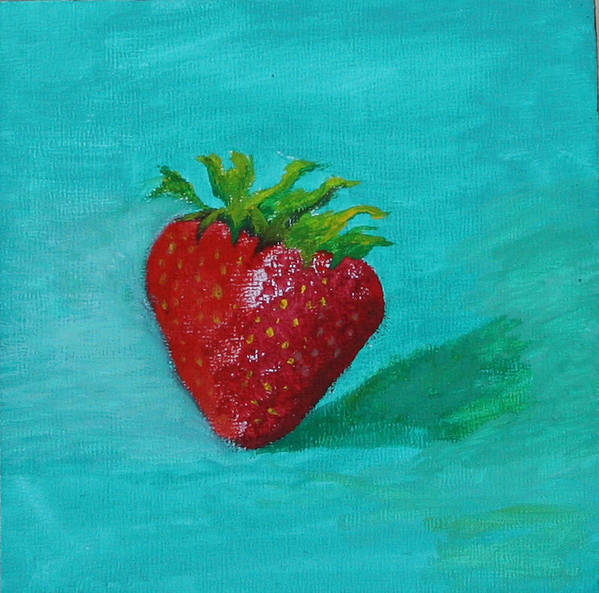 Still Life Art Print featuring the painting Solo Strawberry by RF Hauver