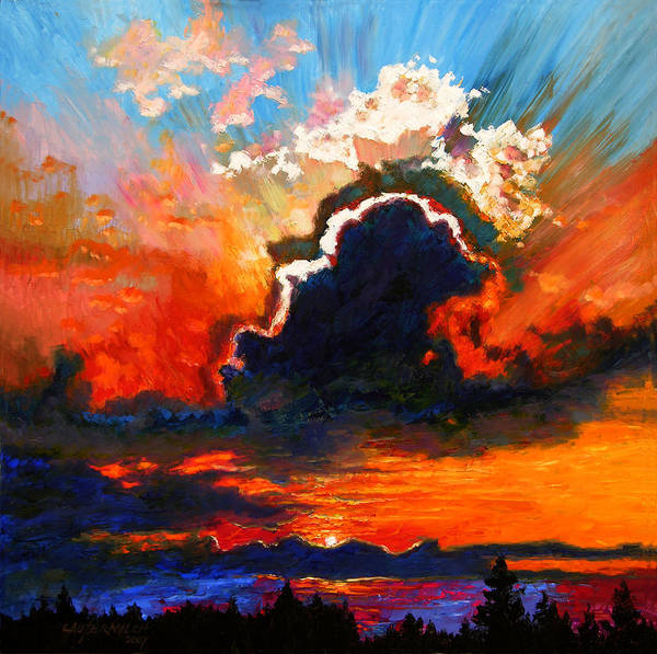Landscape Art Print featuring the painting Some Glad Morning by John Lautermilch