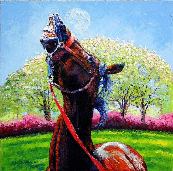 Horse Art Print featuring the painting Spring Fever by John Lautermilch