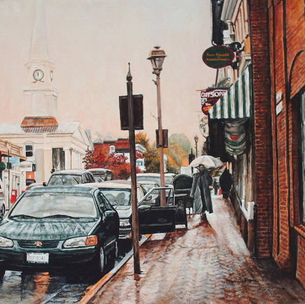 Cityscape Art Print featuring the painting Spring Rain by Thomas Akers