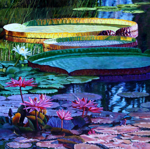Garden Pond Art Print featuring the painting Stillness Of Color And Light by John Lautermilch