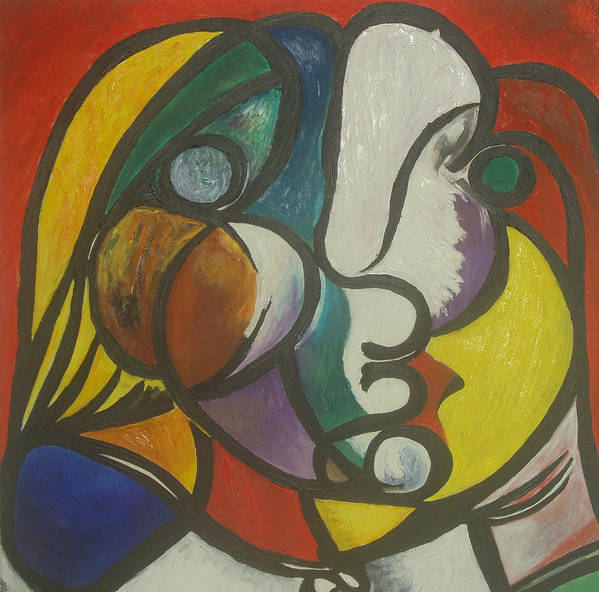 Picasso Art Print featuring the painting Study After Picasso by Ibrahim Rahma