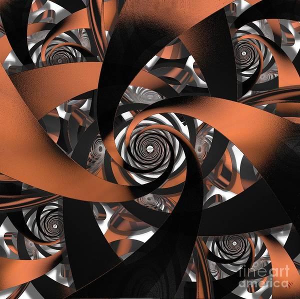 Fractal Art Print featuring the digital art Suede Spiral by Ron Bissett