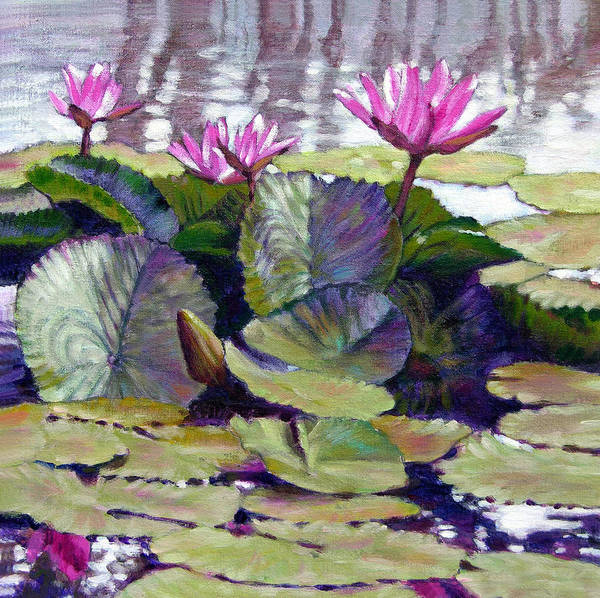 Water Lilies Art Print featuring the painting Summer Breeze by John Lautermilch