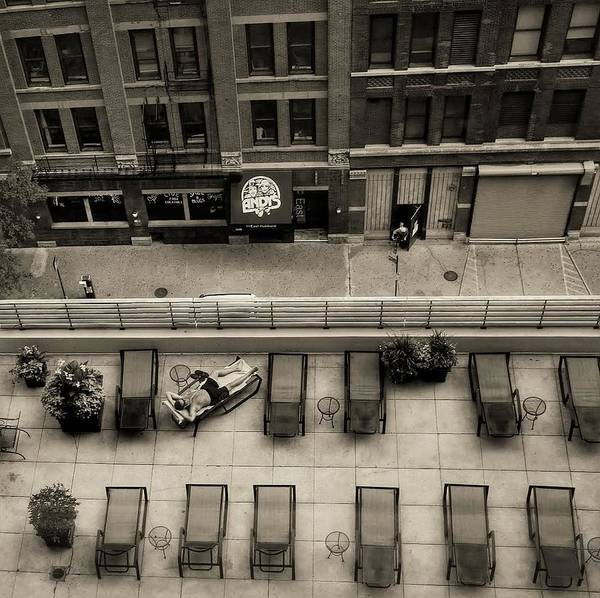 Sepia Art Print featuring the photograph Summer In Chicago by Dario Boriani