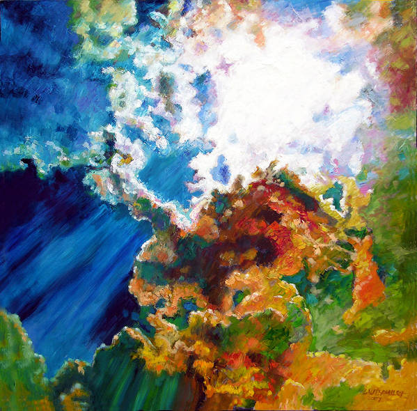 Sunburst Art Print featuring the painting Sunburst by John Lautermilch