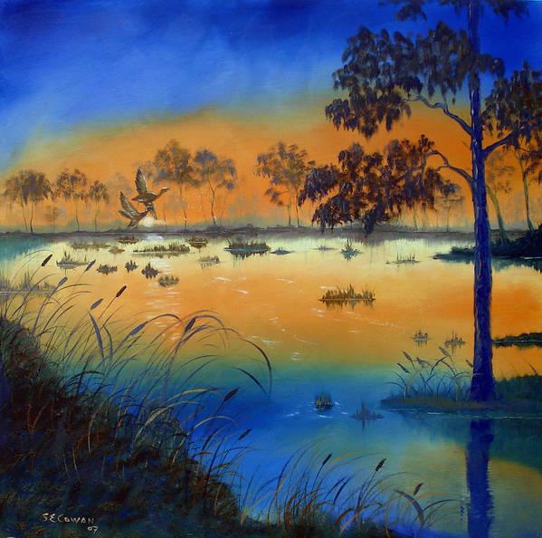 Sunrise Art Print featuring the painting Sunrise At The Lake by SueEllen Cowan