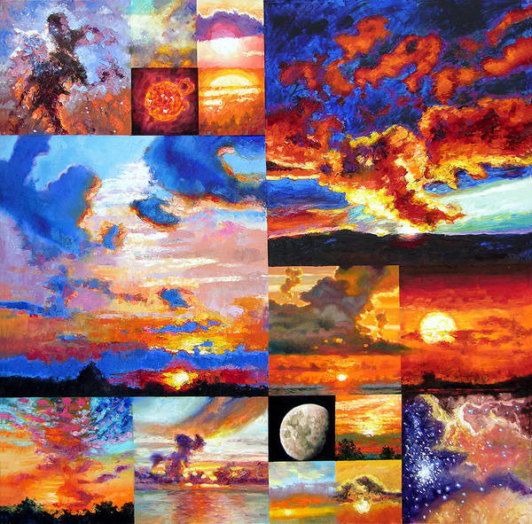 Sunrise Art Print featuring the painting Sunrise Sunset Sunrise by John Lautermilch