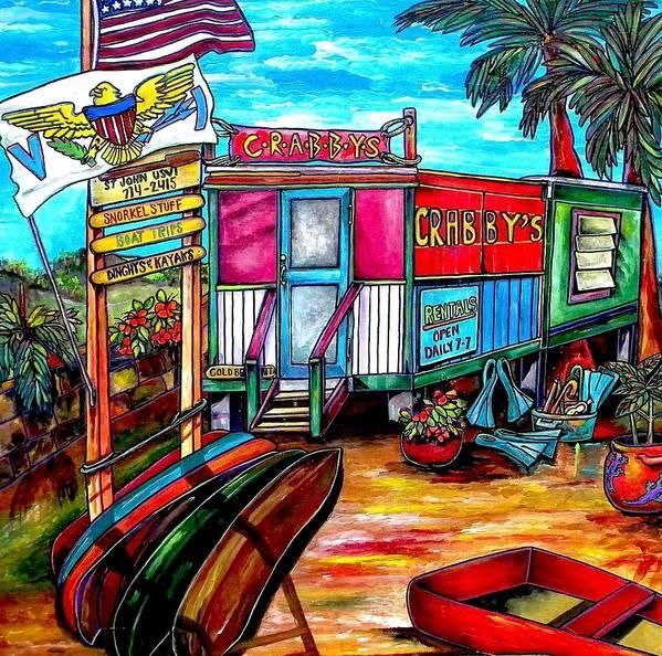 Caribbean Art Print featuring the painting Surf Shack by Patti Schermerhorn