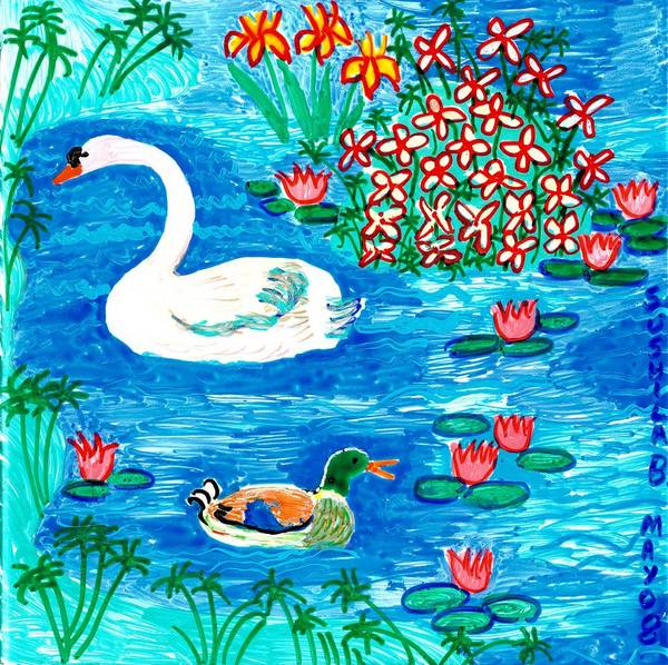 Sue Burgess Art Print featuring the painting Swan And Duck by Sushila Burgess