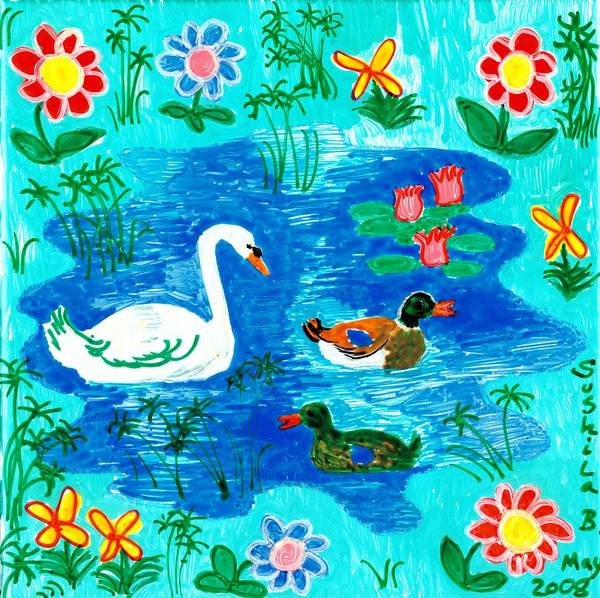 Sue Burgess Print featuring the painting Swan And Two Ducks by Sushila Burgess