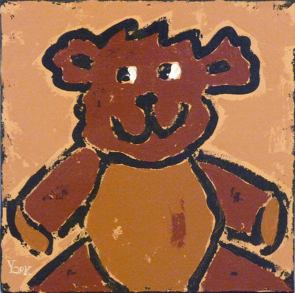 Teddy Bear Art Print featuring the painting Teddy by Ron York