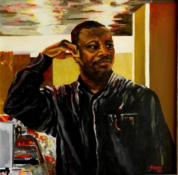 Portrait Art Print featuring the painting The Bartender by Jolante Hesse