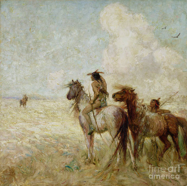 The Art Print featuring the painting The Bison Hunters by Nathaniel Hughes John Baird