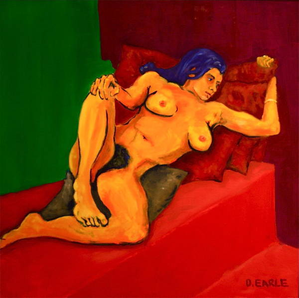 Nude Art Print featuring the painting The Golden Pose by Dan Earle