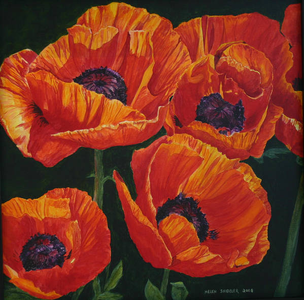 Poppies Art Print featuring the painting The Last Dance by Helen Shideler