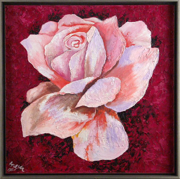 Flowers Art Print featuring the painting Third Passion by Helene Lagoudakis