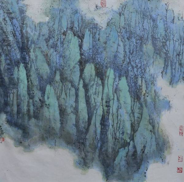Chinese Painting Art Print featuring the painting Thousands Of Mountains Compete by Zi De Chen