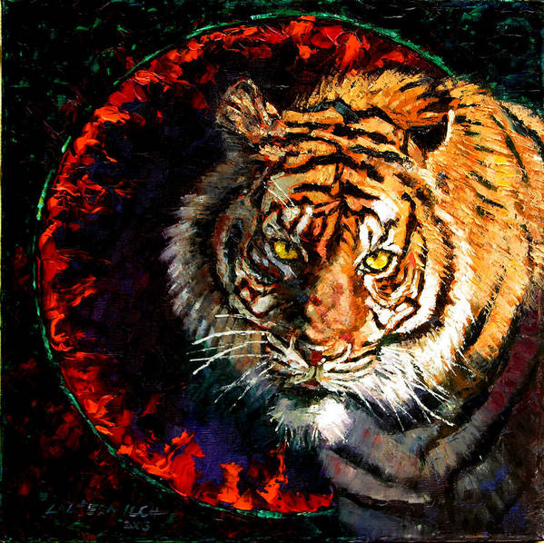 Tiger Art Print featuring the painting Through The Ring Of Fire by John Lautermilch